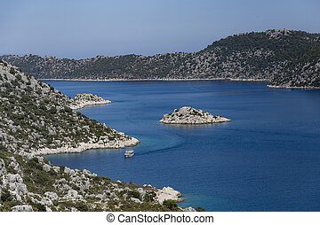 Mediterranean seascape with wiew over Kalekoy Simena bay in...