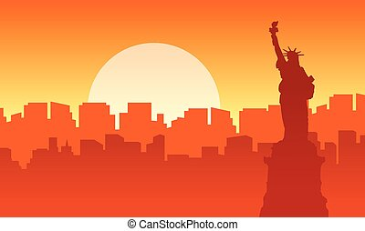 Liberty at sunset scenery silhouettes