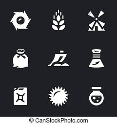Vector Set of Wheat Icons. - Reel, ear, mill, bag, plow,...