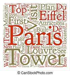 Top Tourist Attractions In Paris text background word cloud...