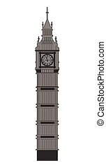 Big Ben vector contur. England or London icon.