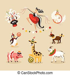 Set of circus animals and characters