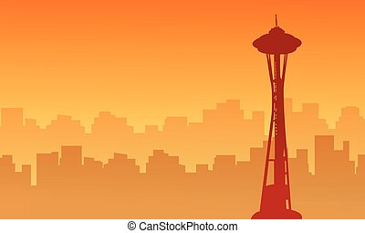 Silhouette of seattle space needle tower scenery