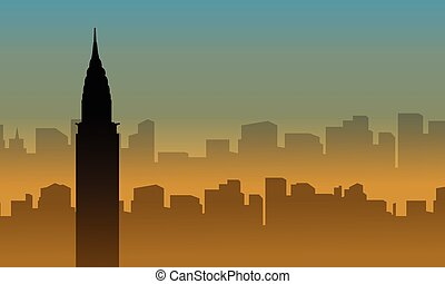Silhouette of chrysler building scenery at sunset vector art