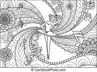 Ballet - Zendoodle design of ballet dancer for adult...