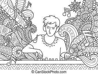 Dj Playing music for coloring book.Stock Vector