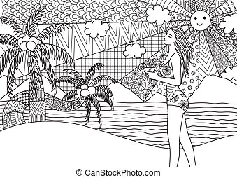 beach - Zentangle design of sexy girl holding surfboard...