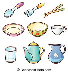 Tableware - Vector illustration of Cartoon tableware set
