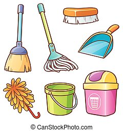Cleaning supplier - Vector illustration of Cartoon Cleaning...
