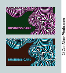 business card style opt art - Bright creative business card...