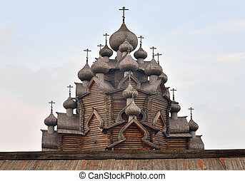 Wooden Church of the Intercession near St. Petersburg. -...