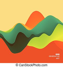 Background with abstract waves. Dynamic Effect. 3D Vector...