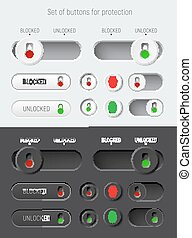 set of sliders and switches with a red and green padlock for white and black interfaces