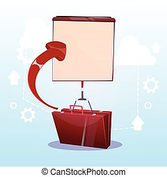 Open Briefcase With Flip Chart Business Presentation Concept...