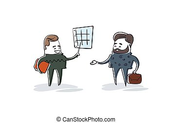 Two Business Man Showing Finance Chart Graph Report Businesspeople Team Brainstorming