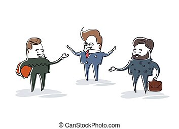 Business Man Group Speaking, Businessman Meeting Discussion Cartoon Character Full Length