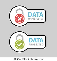 data protected unprotected safety icon symbol