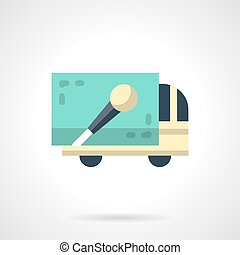 Concert truck flat color vector icon