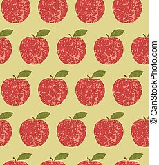 Seamless pattern fruit red apple