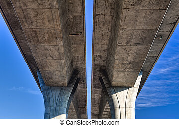 Highway bridge and blue sky