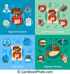 Digestive System Icon Set - Four square colored digestive...