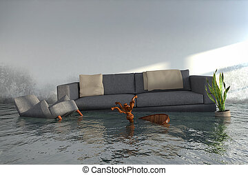 3d render - Water damager after flooding in house with...