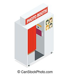 Isometric Compact Photo Booth. Flat 3d isometric...