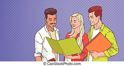 Young People Group Students Reading Over Pop Art Colorful Retro Background