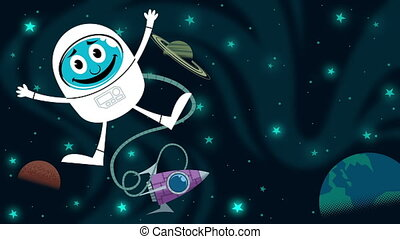 Space Fun - Looping animation of astronaut in outer space.