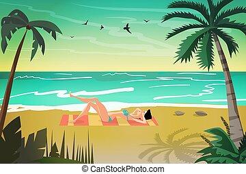 Woman sunbathes on the beach on sand at sunset. Vector flat cartoon illustration
