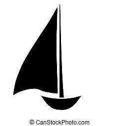 Segelboot zeichnung schwarz  Vektor Clipart von segelboot, silhouette - Silhouette, von, a ...