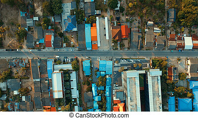 top view over home roof town in klong wan prachuap khiri...