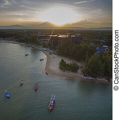 aerial view of sunset sky at klong warn prachuap khiri khan...