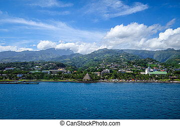 Papeete city view from the sea, Tahiti