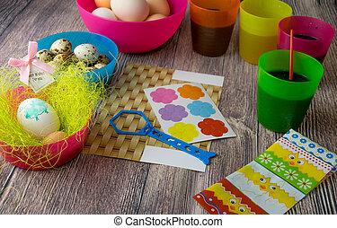 decoración, tabla, huevos, Pascua, coloreado