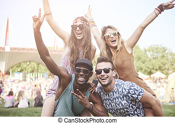 Two couples spending good time