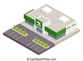 The supermarket with parking and shopping carts. Retail trade. Credit Cards. Vector isometric illustration. supermarket exterior