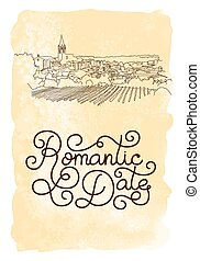 Holiday gift card with hand lettering Romantic Date and...