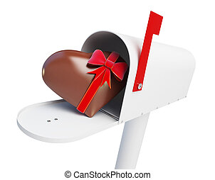 Mailbox Chocolate heart on a white background 3D illustration