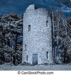 Folly Tower at the Top of Chinthurst Hill Moonlight, Surrey,...