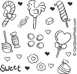 Doodle of candy various sketch collection