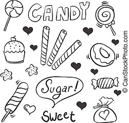 Doodle of sweet candy sketch collection stock