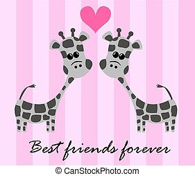 best friends forever - illustration of two cute giraffes