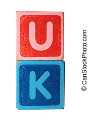 uk in toy block letters