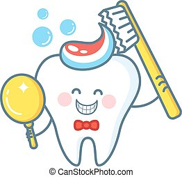 Cartoon Tooth With Toothpaste And Mirror - Cartoon tooth...