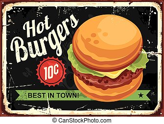 Hot burgers retro tin sign design. Vector illustration.