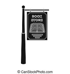 Bookstore signage icon in black style isolated on white background. Library and bookstore symbol stock bitmap illustration.
