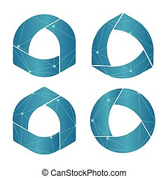 Isolated abstract round shape blue color logo set, geometric...