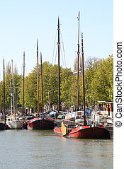 Dutch Boats - Historic boats in Dordrecht canal