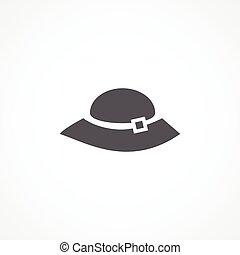 Woman hat icon - Gray Woman hat icon on white background